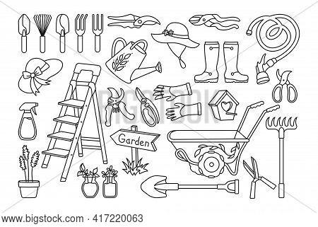 Garden Village Black Line Cartoon Set. Birdhouse, Rustic Stepladder. Rubber Boots, Rake And Gloves,
