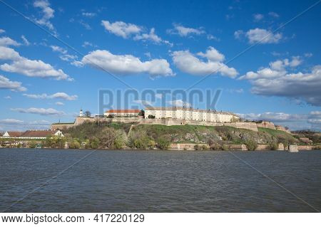 Petrovaradin Fortress In Novi Sad, Serbia, On Danube River, On A Sunny Summer Afternoon. It Is One O