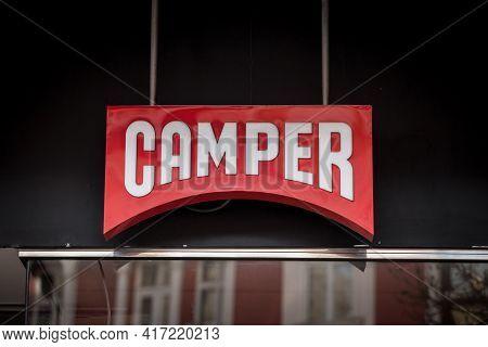 Belgrade, Serbia - February 14, 2021: Logo Of Camper Footwear On Their Main Store For Belgrade. Camp