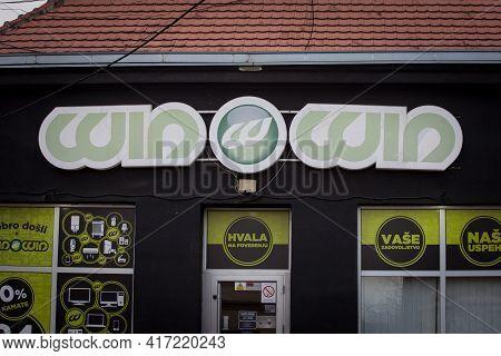 Obrenovac, Serbia - April 4, 2021: Winwin Logo In Front Of Their Shop For Belgrade. Win Win Srbija I