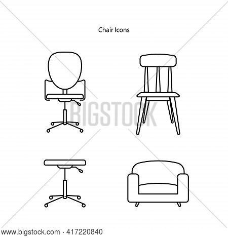 Chair Icon Set Isolated On White Background From Furniture Collection. Chair Icon Thin Line Outline