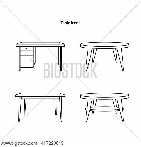 Table Icon Set Isolated On White Background From Furniture Collection. Table Icon Thin Line Outline