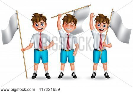 School Male Characters Vector Set. School Student Boy 3d Character Happy Standing And Holding Flag E