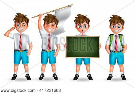 School Boy Characters Vector Set. School Student Boys Character Standing And  Holding Flag Elements
