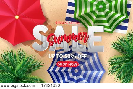 Summer Sale Vector Banner Design. Summer Sale Special Offer Text With 50% Off Promo Discount For Sum