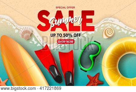 Summer Sale Vector Banner Design. Summer Sale With Up To 50% Off Text Discount Special Offer For Bea