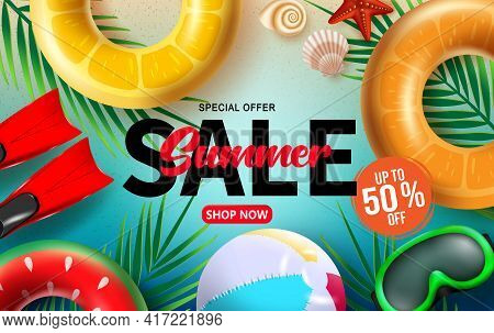 Summer Sale Vector Banner Design. Summer Sale Shop Now Text With  Special Offer Up To 50% Off Beach