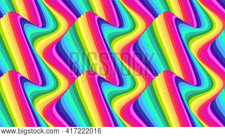 Wavy Stripes. Groovy Colored Lines With Optical Illusion Effect. Vector Illustration.