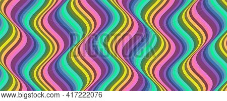 Vertical Groovy Pattern. Wavy Lines In Sixties Style. Stripe Retro Pattern. Vintage Vector Illustrat