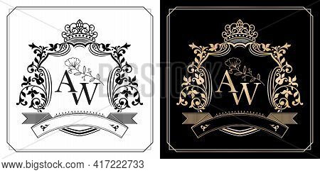 Aw Initial Letter With Royal Crown Of Monarch, Aw Royal Emblem With Crown, Initial Letter And Graphi