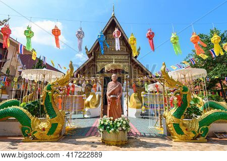 Beautiful View Of Wat Phra Singh Temple With Traditional Paper Lanterns Hanging On The Rows During Y