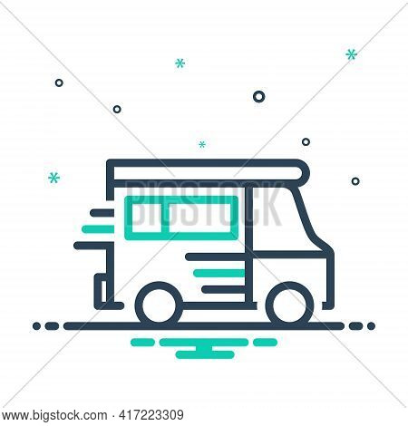 Mix Icon For Van Vehicle Conveyance Carriage Motor