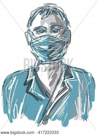Sketch Hand Drawn Portrait Of A Man In Mask Eps10 Vector Illustration Isolated On White Background.