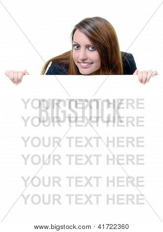 Young Business woman Holding Blank Message Board