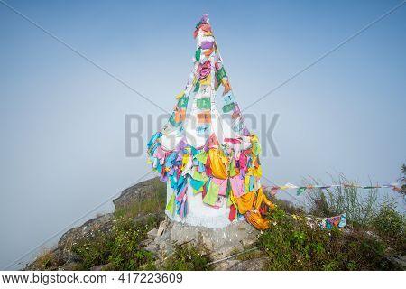 Beautiful White Stupa On The Top Of Doi Nork An Iconic Huge Grey Black Rock In Doi Luang National Pa