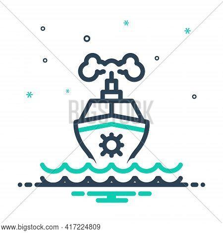 Mix Icon For Ship Marine Transport Travel Maritime Cruise Sea