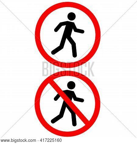 Prohibition No Pedestrian Sign. No Access For Pedestrians Prohibition Symbol. No Walk Icon Access Fo