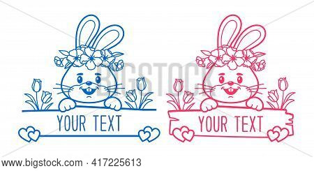 Bunny Split Monogram, Baby Clothes Print, Easter Monogram, Bunny Face Monogram. Vector Illustration