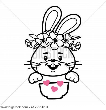 Bunny With Cereal Bowl, Baby Clothes Print, Bunny Face Vector Illustration