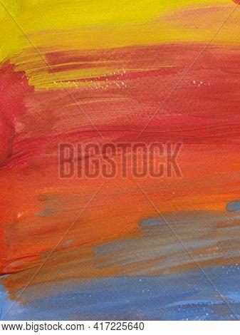 Paintbrush Strokes Surface On Rough Watercolor Paper. Gradient Stripes Of Vibrant Color Paints Looki