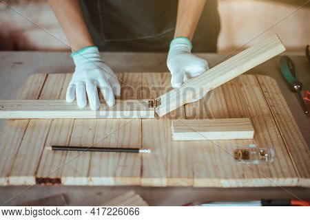 Diy Woodworking, Fabrication Of Wooden Parts, Close Up.