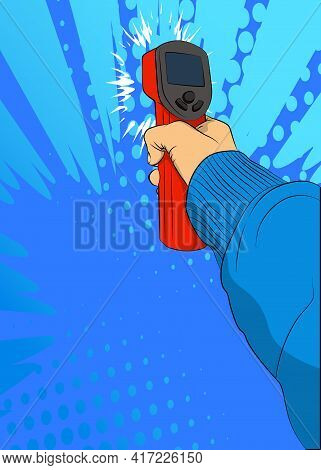 A Handheld Non-contact Digital Infrared Thermometer Gun. Vector Illustrated Comic Book Style Modern