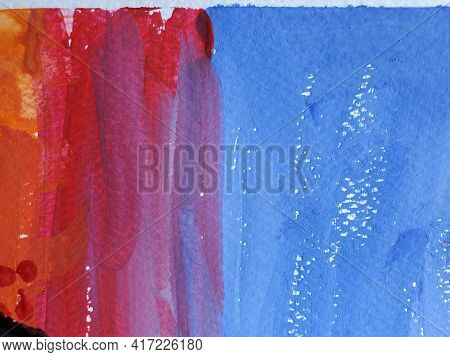 Paintbrush Strokes Surface On Rough Watercolor Paper. Gradient Stripes Of Blue And Red Colors Lookin