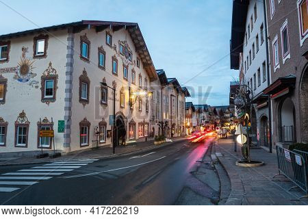 Golling, Austria - February 1 2021: Town In The Tennengau Of Salzburg, Austria At Night, Markt Stree