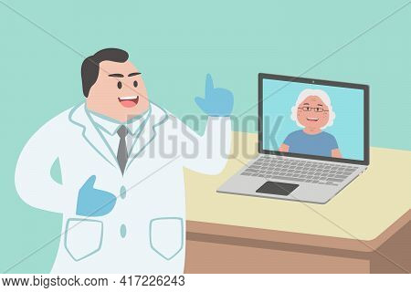 Male Doctor Using Laptop Computer Online Video Call Remote Talking To Senior Woman Patient, Prescrib