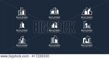 Set Of Modern Building Real Estate Logo Vector Concept Collection. Logo Can Be Used For Icon, Brand,