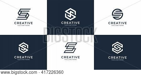 Set Of Modern Letter S Logo Icon Collection For Modern Company. Logo Can Be Used For Icon, Brand, Id