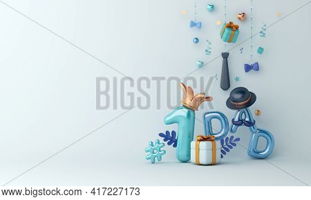 Happy Father's Day Decoration Background With Balloon Gift Box, Hat, Necktie, Copy Space Text, 3d Re