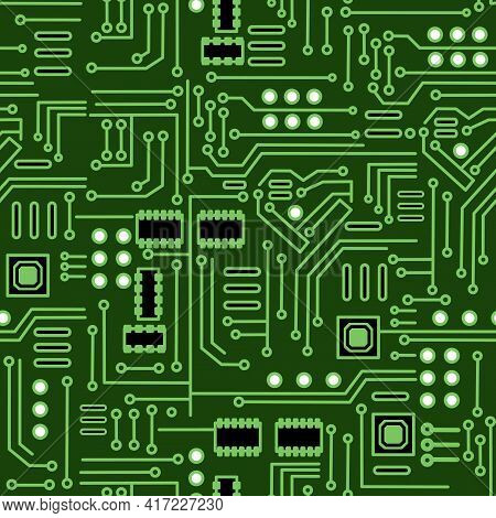 Vector Illustration Of Seamless Electronic Board Chip-set Background.