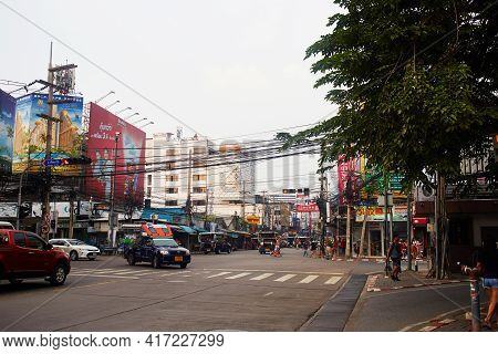 Pattaya, Thailand - November 3, 2019 : Crossroads In The Center Of Pattaya City.