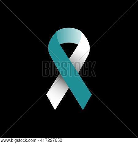 Illustration Vector Graphic Of Green And White Ribbon Symbol Of Concern For Cervical Cancer