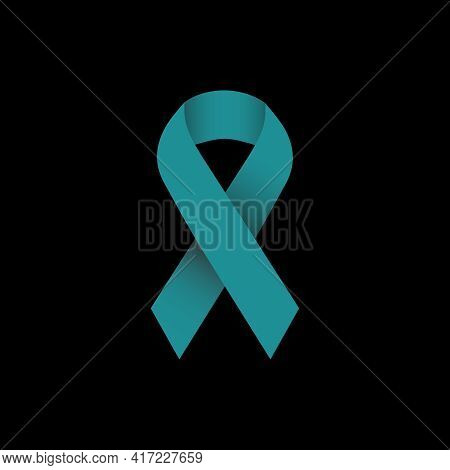 Illustration Vector Graphic Of Bluish Green Ribbon Symbolizes Concern For Ovarian Cancer