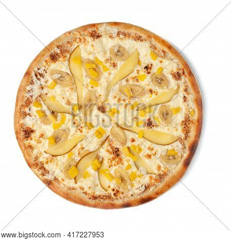 Sweet Pizza With Pear, Pineapple, Banana And Mozzarella Cheese. Butter Cream. View From Above. White