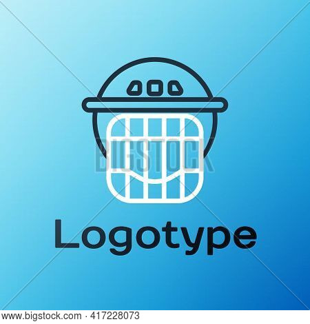 Line Hockey Helmet Icon Isolated On Blue Background. Colorful Outline Concept. Vector Illustration