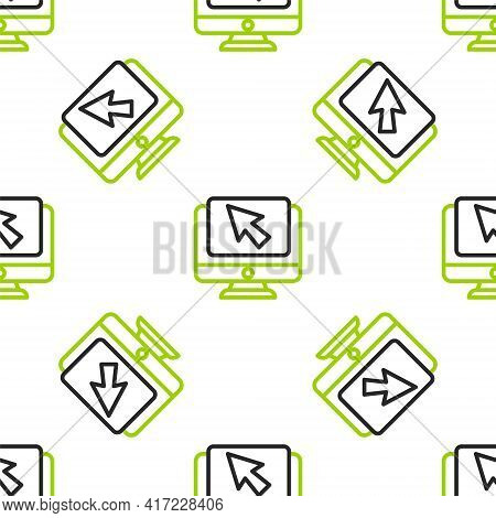 Line Computer Monitor And Cursor Icon Isolated Seamless Pattern On White Background. Computer Notebo