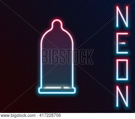 Glowing Neon Line Condom Safe Sex Icon Isolated On Black Background. Safe Love Symbol. Contraceptive