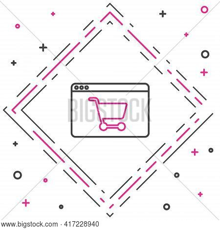 Line Online Shopping On Screen Icon Isolated On White Background. Concept E-commerce, E-business, On