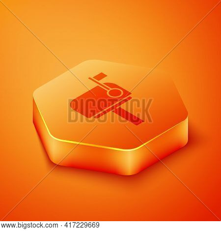 Isometric Mail Box Icon Isolated On Orange Background. Mailbox Icon. Mail Postbox On Pole With Flag.