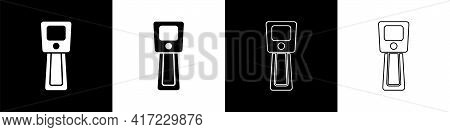 Set Digital Contactless Thermometer With Infrared Light Icon Isolated On Black And White Background.