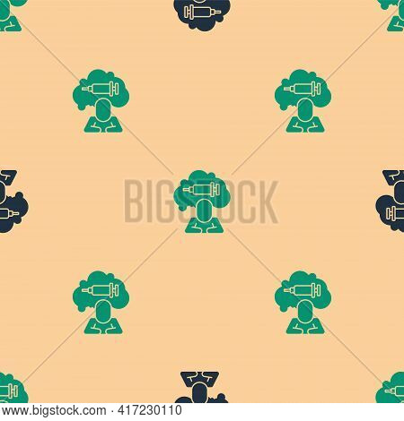 Green And Black Addiction To The Drug Icon Isolated Seamless Pattern On Beige Background. Heroin, Na