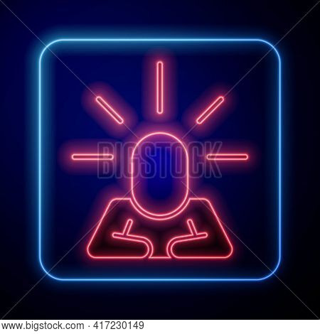 Glowing Neon Depression And Frustration Icon Isolated On Blue Background. Man In Depressive State Of