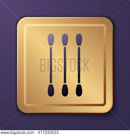Purple Cotton Swab For Ears Icon Isolated On Purple Background. Gold Square Button. Vector