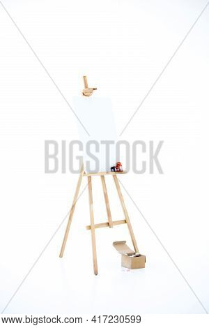 Advertising Stand Or Flip Chart Or Blank Artist Easel Isolated On White.