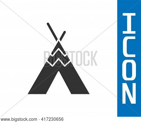 Grey Traditional Indian Teepee Or Wigwam Icon Isolated On White Background. Indian Tent. Vector