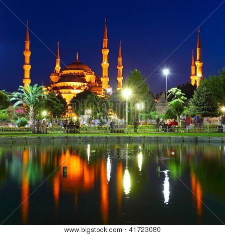 Blue Mosque With Reflection - Istanbul
