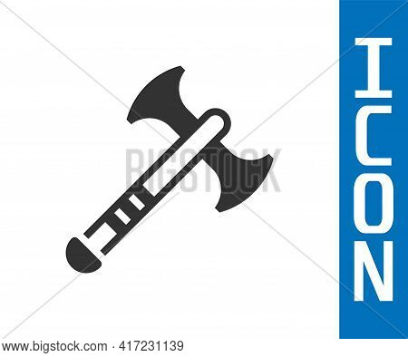 Grey War Axe Icon Isolated On White Background. Battle Axe, Executioner Axe. Medieval Weapon. Vector